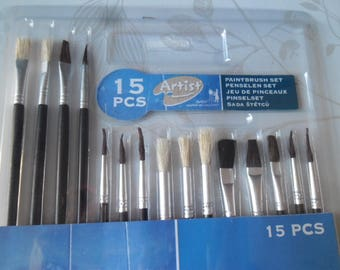x 1 set of 15 mixed brushes for oil painting, acrylic, collage