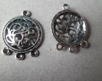 x 3 4 holes flower connector crafted silver 26 x 20 mm