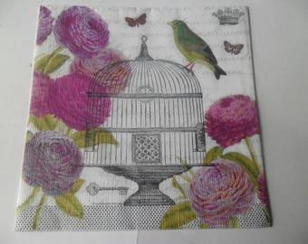x 1 paper napkin vintage cage bird, large pink flowers, butterflies 33 x 33 cm