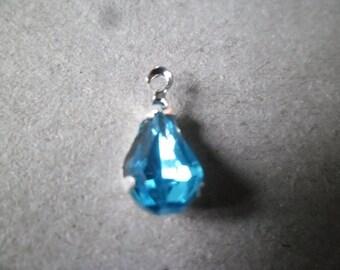 1 x 13 x 6 mm blue rhinestone drop