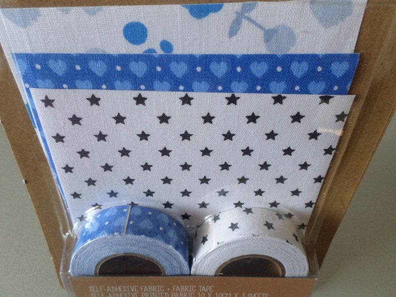 x 1 set of 2 rolls masking tape 3.50 meters 3 fabrics cut 10 x 10 cm blue tape