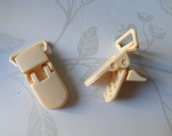 42 x 15 mm x 1 clip crocodile/cream pacifier clip made of plastic