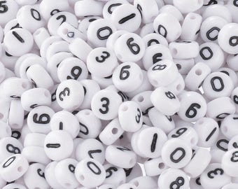 """x 500 mixed beads spacer round white figure number black """"0-9"""" acrylic 7 mm"""