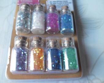 x 8 jars inside glass 8 multi-colored glitter glue