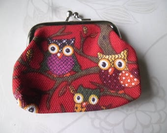 x 1 wallet owls pattern red rectangle clasp silver 12 x 9 cm