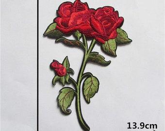 x 1 red rose applique badge patch fusible 21.1 x 13.9 cm T5
