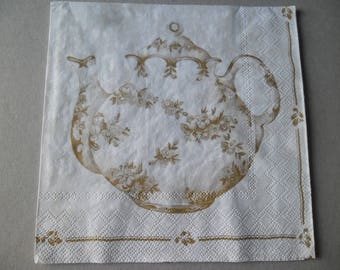 x 1 paper towel depicting a teapot and cups 33 x 33 cm