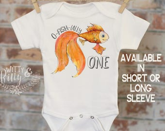 Officially One Goldfish Onesie®, First Birthday Onesie, Customized Onesie, Cute Onesie, Boho Baby Onesie, Funny Onesie - 162O