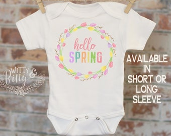 5c51f567982c Hello Spring Onesie®, Pastel Pink Wreath, Baby Shower Gift, Cute Spring  Outfit, Boho Baby Bodysuit, Pastel Colors, Spring Baby Clothes -446H