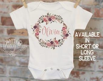Flower Wreath Baby Name Personalized Onesie®, Customized Onesie, Woodland Style Onesie, Boho Baby Onesie, Girl Name Onesie - 248O