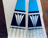 Native American Santo Domingo Pueblo Slab Stone Earrings Inlaid with White Turquoise and more