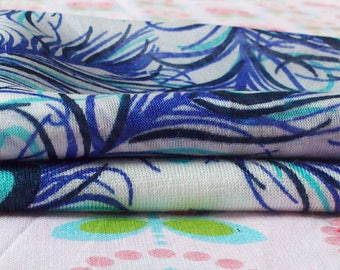 SET OF TWO BLUE SHADES FABRICS COUPONS TURQUOISE AND WHITE