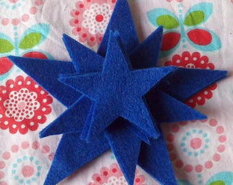 CHRISTMAS - SET OF TEN STARS IN BLUE FELT