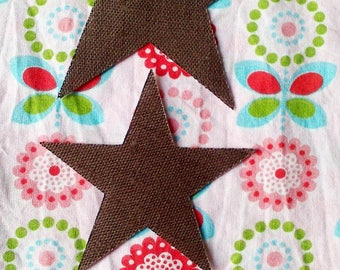 CHRISTMAS - SET OF THREE STARS THERMOCOLLE BROWN LINEN