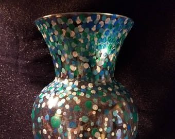 Large Blue & Silver Dotted Vase