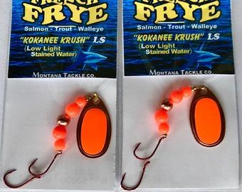 "Kokanee Salmon Trolling Spoons by Montana Tackle ""PINK HERRING"" 2 size 2"