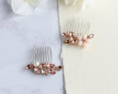 Small wedding hair comb Crystal bridal hair pins Rhinestone hair clips Petite bridesmaid hair comb Pearl hair accessory for bride