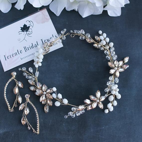 Wedding Bridal Hair Band Gold Silver Crystal Rhinestone Beaded Headband Ribbon
