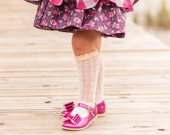 Girls Knee High Socks Crochet with Ruffle- Available in Multiple Sizes and Colors!