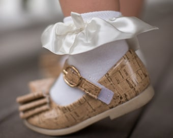 Girls Satin Ruffle and Bow Ankle Sock- Available in White, Pink and Navy!