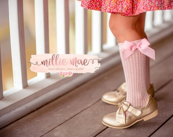 Baby Girl And Toddler Cable Knit and Bow Knee High Socks. Fits Infant and Toddler Girls. Pink