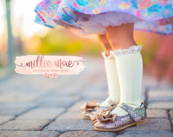 Baby Girl Knee High Socks Cable Knit with Ruffle- Available in Multiple Colors and Sizes