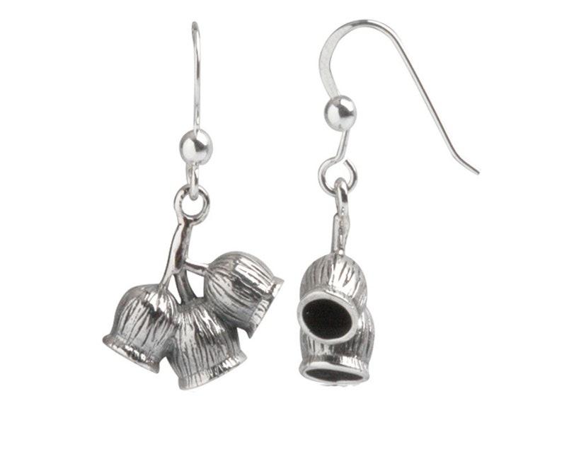 Australian Earrings,Small Gift,Fine Silver,Handmade Jewellery,3 Gum Nuts Jewellery,Christmas,Women,Girls Jewellery,Australian Wildflower
