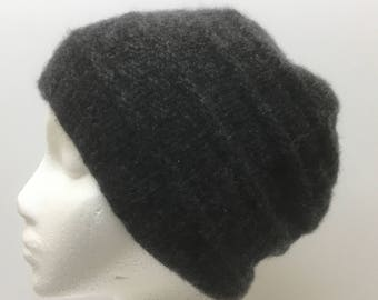 Charcoal Italian Cashmere Hand Knit Hat Dark Gray   22.5 to 23.5