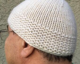 "d11e94b19 Chunky Cream Italian Cashmere Skullcap kufi / 21.5"" to 22.5"
