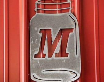 Monogram Initial Mason Jar Metal Art