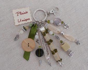 Keychain jewelry bag little Ecru Olive Green bow