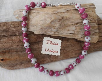 Pea Eggplant necklace pink and gray