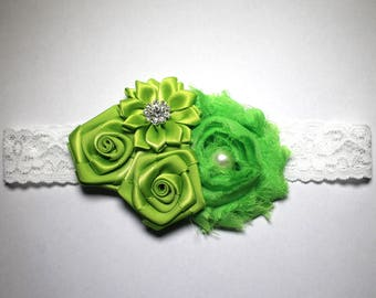 League white lace bridal and detail flower green shabby chic vintage