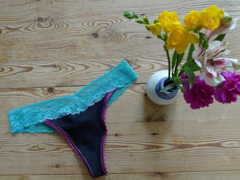 53bfefa0666 Black Cotton Organic Cotton Thong pink turquoise lace trim
