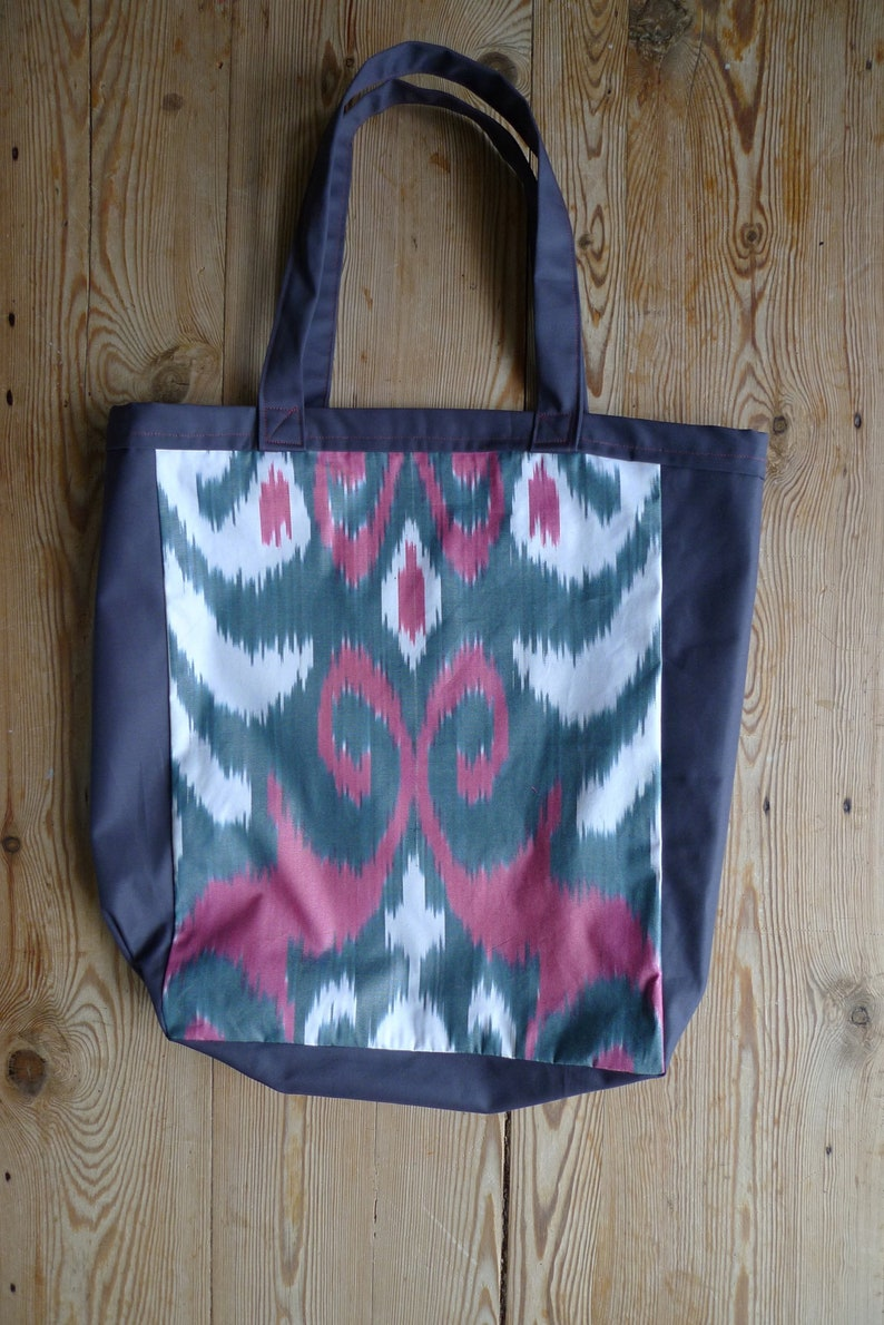 641ad43cb59f Ikat Print Tote Bag, Large size, Gray and Pink, Heavy duty canvas tote bag,  durable reusable less waste shopping, uzbek vintage fabric