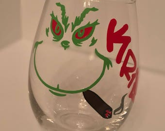 Custom Smoking Grinch Wine Glass