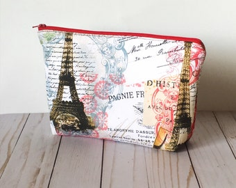 Paris Cosmetic Bag | Large Makeup Brush Holder | Makeup Artist Gift | Cute Accessories Pouch | Makeup Bag with Pocket | Travel Organizer