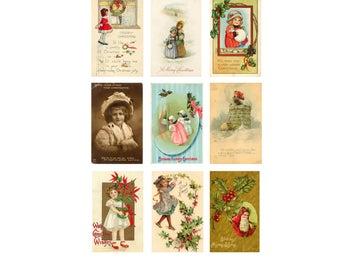 Printable Vintage  Christmas Gift Tags Set 2 Digital Download
