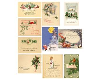 Printable Vintage Christmas Gift Tags Set 1 Digital Download