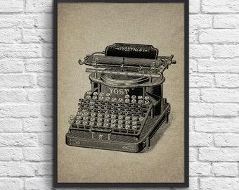 Vintage drawing Typewriter Print, Typewriter YOST No4, Home Wall Art, Vintage Illustration Typewriter Digital Instant Download. #1
