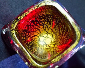 Antique Red and Gold Murano Glass Bowl