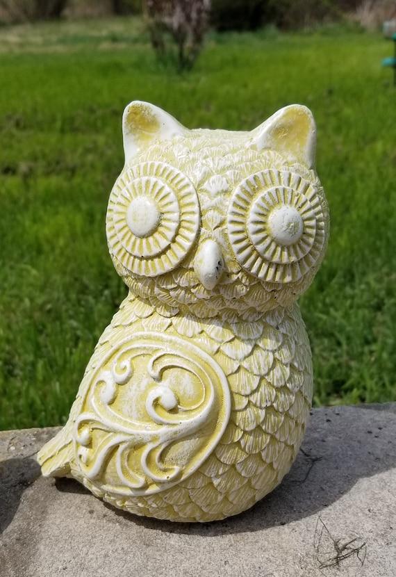 Cement Owl Statue Concrete Owl Garden Statue Hand Made | Etsy