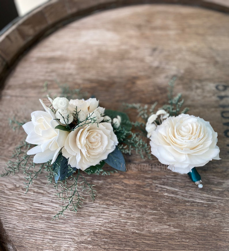 Sola Wood Flowers Ivory and Hunter green Boutonniere and image 0