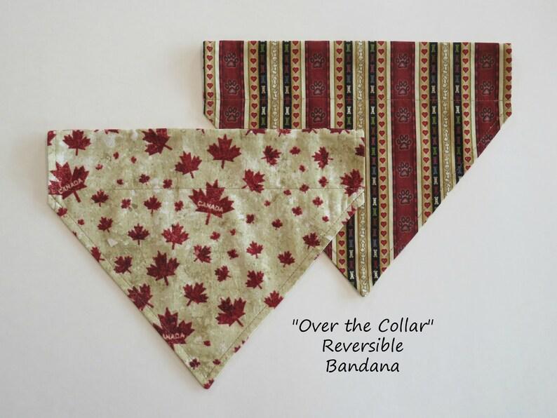 Slide on Bandana Reversible Bandana Over the Collar Pet Bandana Dog or Cat Bandana Pet Bandana Canada Maple Leaf meets Hearts /& Paws