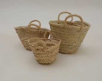 Small wicker basket - Handmade Moroccan Bag - Small storage bag - Wicker bag set - Party favours bag - Bathroom Decor