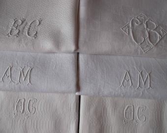 Bulk of 6 napkins beautiful old monogrammed