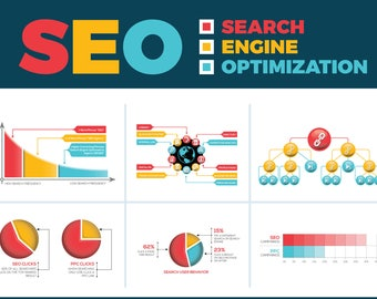 SEO (Search Engine Optimization) Vector Infographic Elements   Instant Download   Digital Files