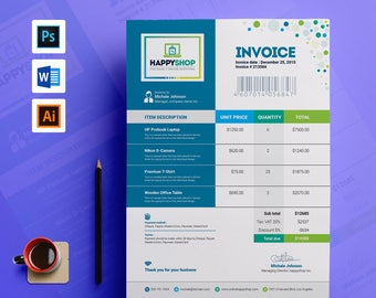 invoice word photoshop psd invoice template photography invoice invoice receipt business form print invoice instant download