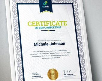Certificate template etsy certificate of completion multipurpose certificate template psd and eps certificate business award certificate wajeb Image collections