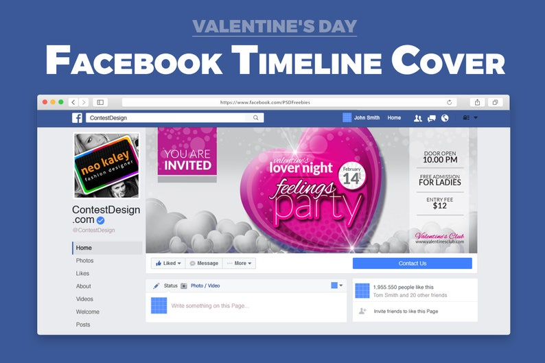Valentine Party Event Night Club Facebook Venue Event Timeline Cover Social  Media | Instant Download | Digital Files